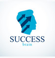 successful man logo or icon design man head vector image
