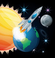 sun and earth with moon and rocket vector image vector image