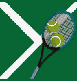 tennis court with racket and balls to play sport vector image vector image