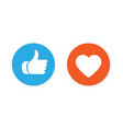thumbs up and heart icon vector image vector image