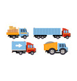 trucks set delivery vehicles side view vector image