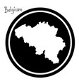 white map of belgium on black circle vector image