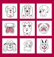 collection with cute dogs set in sketch cartoon vector image