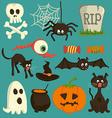 Set of Halloween cartoon icons vector image