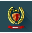 with laurel wreath shield and crown in flat design vector image