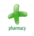 abstract green logo for pharmacies vector image
