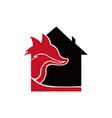 animal fox real estate home logo design template vector image vector image