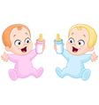 babies with bottles vector image vector image