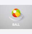 ball isometric icon isolated on color background vector image vector image