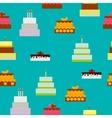 Birthday Cake Flat Icon Seamless Pattern vector image vector image