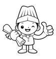 black and white funny cook mascot academic vector image