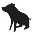 black and white sitting pig silhouette vector image