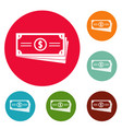 business money icons circle set vector image vector image