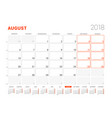 calendar template for 2018 year august business vector image vector image