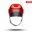 Classic red Ice Hockey Helmet with glass visor vector image vector image