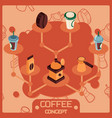 coffee color isometric concept icons vector image vector image