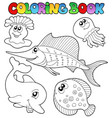 coloring book with sea animals 2 vector image vector image