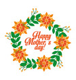 cute orange flowers wreath branches leaves happy vector image