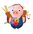 cute sad schoolboy pig with a backpack vector image vector image