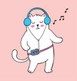 dancing white fat cat with old cassette player vector image