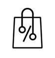 discount sale shopping bag icon outline style vector image vector image