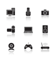 Electronic equipment drop shadow icons set vector image vector image