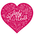 fantasy characters and symbols in the pink heart vector image vector image