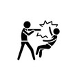 fight black icon sign on isolated vector image