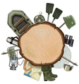 Fishing Tackle with Wooden Board vector image vector image