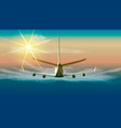 flying airplane in the sky of vector image vector image