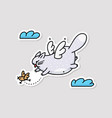 funny fat cat flying to catch bird sketch cartoon vector image