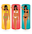 girl in bikini elegant on mattress set vector image vector image