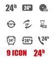 grey 24 hours icon set vector image vector image