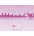 Hamburg skyline in purple radiant orchid vector image vector image