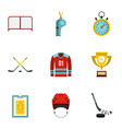 hockey icons set flat style vector image vector image