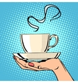 Hot coffee cup woman hand vector image vector image