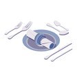 isometric 3d scene with beautiful cutlery vector image vector image