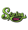 lettering spring time glossy color text vector image