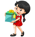Little girl holding a box of present vector image vector image