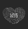 love keto hand drawn banner ketogenic food low vector image vector image