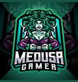 medusa gamer esport mascot logo design vector image vector image