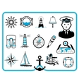 Nautical frame and icons vector image vector image