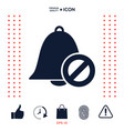 no bell icon prohibition sign stop symbol vector image