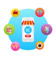 Online market in smartphone icon vector image vector image