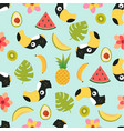 pattern with toucan and tropical fruits vector image vector image