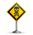 Pole with Warning Sign vector image vector image