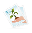 postage stamps with hand and sprout vector image