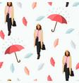 rain walking girl seamless pattern autumn vector image