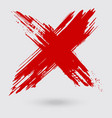 red ink cross stroke on white background vector image vector image