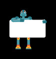 robot holding banner blank cyborg and white blank vector image